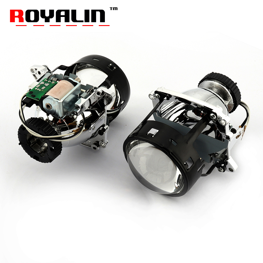 ROYALIN AL Bi Xenon Headlights Lens For BMW E46 X5 E70 Audi A3 A4 Mercedes W203 W204 VW Golf GTI Touran Car Projector D2S Retro