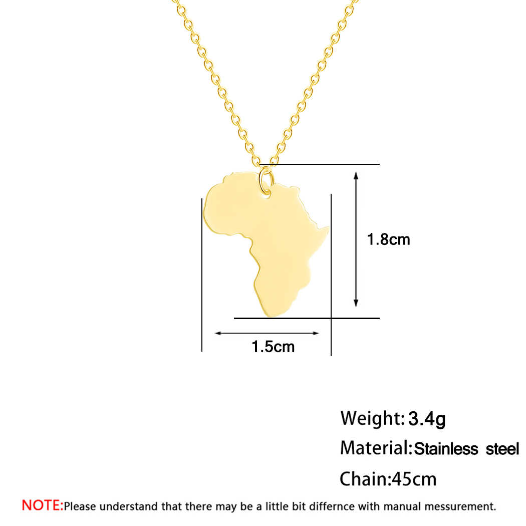 Gold Mama Africa Map Necklace Men Women Stainless Steel Jewelry The Motherland Geometric Necklaces & Pendants Gift