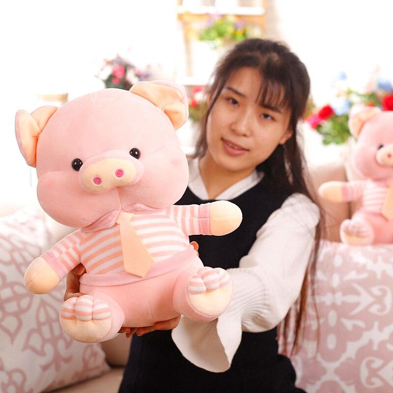 Grand 45 cm dessin animé rose cochon en peluche jouet belle cochon doux poupée en coton jeter oreiller cadeau de noël s2532