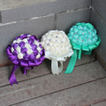 Silk Rose Bridal Bouquet dama de honra segurando flores de pérolas de cristal roxo TifnyBlue azul Royal rosa borgonha Bouquets de casamento