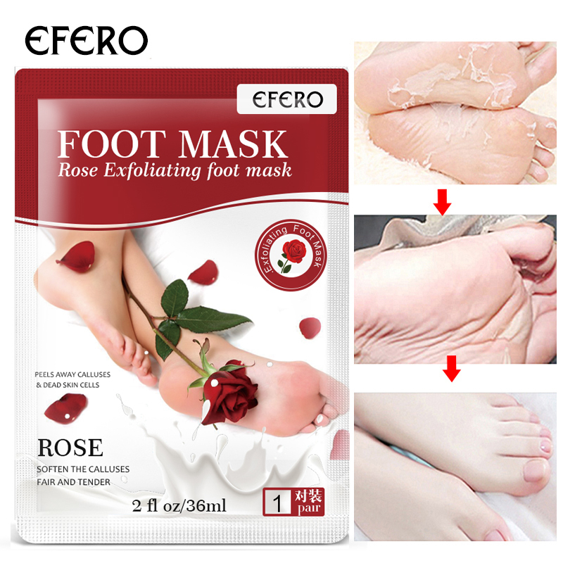 EFERO Rose Baby Feet Exfoliating Foot Mask For Legs Cream For Heels Remove Dead Skin Health Detoxing Feet Mask TSLM2