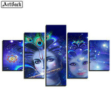 Full square 5d diy diamond painting indian religion woman mosaic sticker new arrival 3d embroidery 1 set 5pcs