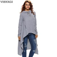 VISNXGI Autumn Loose Plus Size Solid Sweaters Women Long Sleeves Hooded Pullovers Irregular Winter Casual Sweater