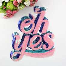 Pink Embroidered Sequins Sew on Fabric Patches DIY Sticker For All Kind Of Fashion Clothing Decoration