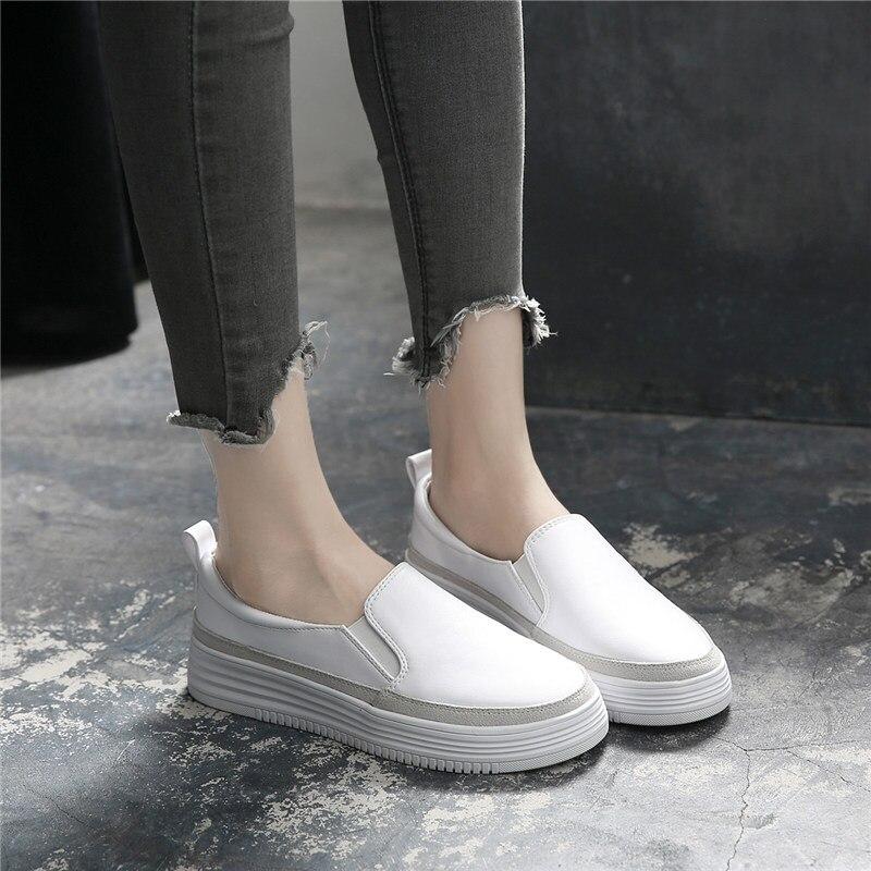 Blanc noir chaussures 2018 automne femmes mocassins en cuir de base mode ballerines argent femme sans lacet mocassins bateau chaussures mocassins - 3
