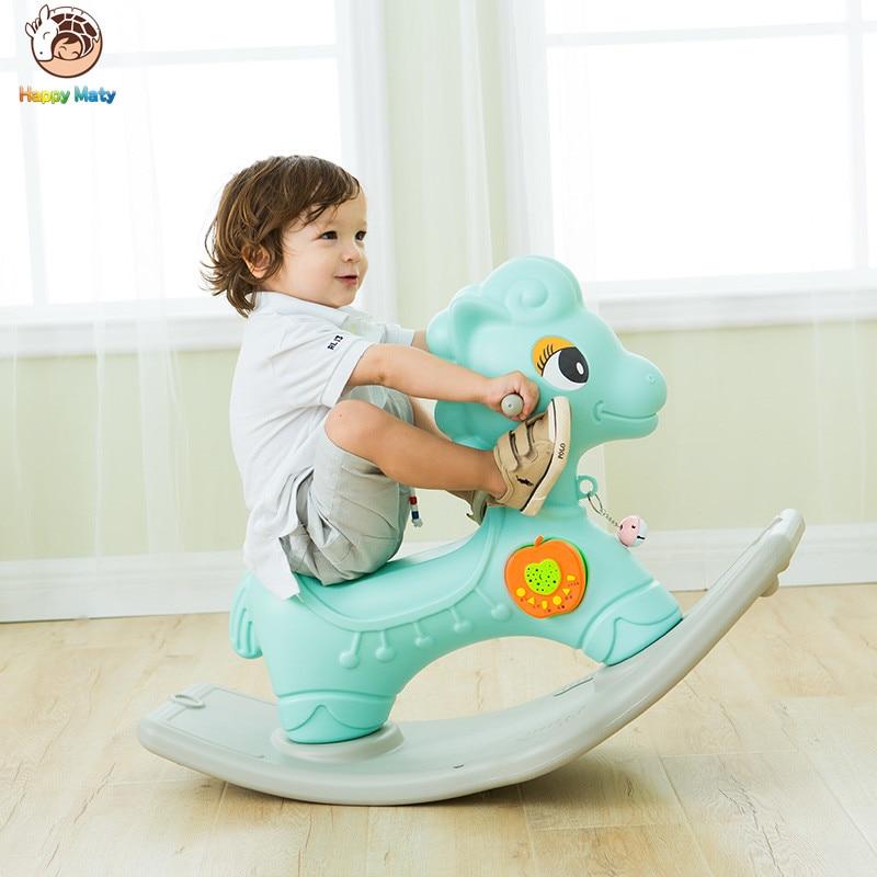 Mignon Animaux En Plastique cheval à bascule À Bascule Musical Poney Éducatifs Rouler Sur Des Rouleaux jouets cadeau d'anniversaire pour Enfants Bébé Enfants