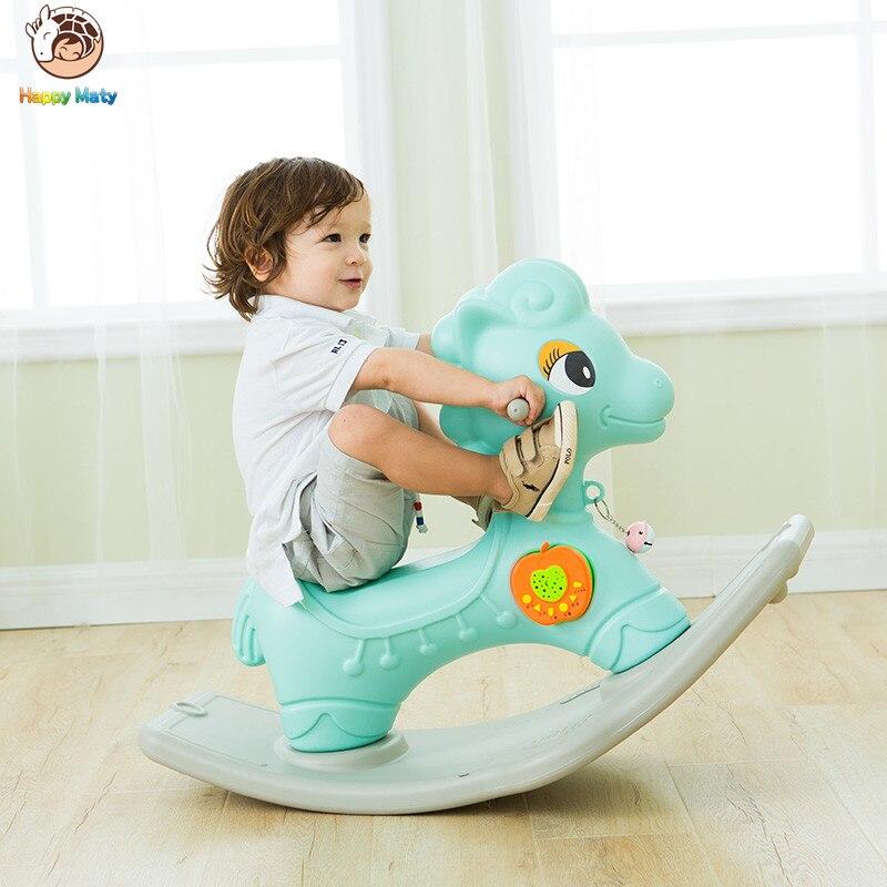 Mignon animaux en plastique cheval à bascule Musical poney à bascule tour éducatif sur rouleaux jouets cadeau d'anniversaire pour enfants bébé enfants