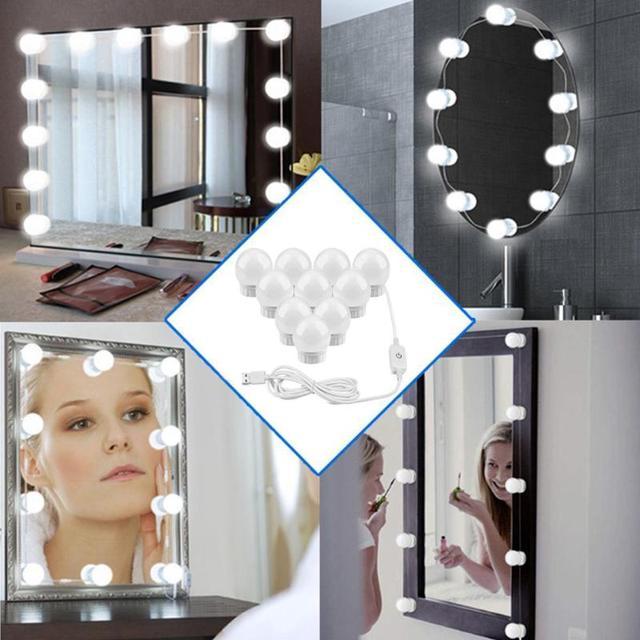 Led 5 v usb 化粧鏡電球ハリウッドバニティライト無段階調光可能な壁ランプ 2 6 10 14 電球キットドレッシングテーブル