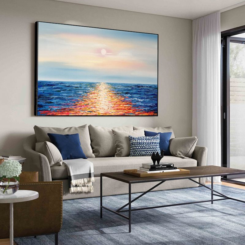 100 Hand Painted Abstract Ocean Scenery Painting On Canvas Wall Art Wall Adornment Pictures Painting For Live Room Home Decor in Painting Calligraphy from Home Garden