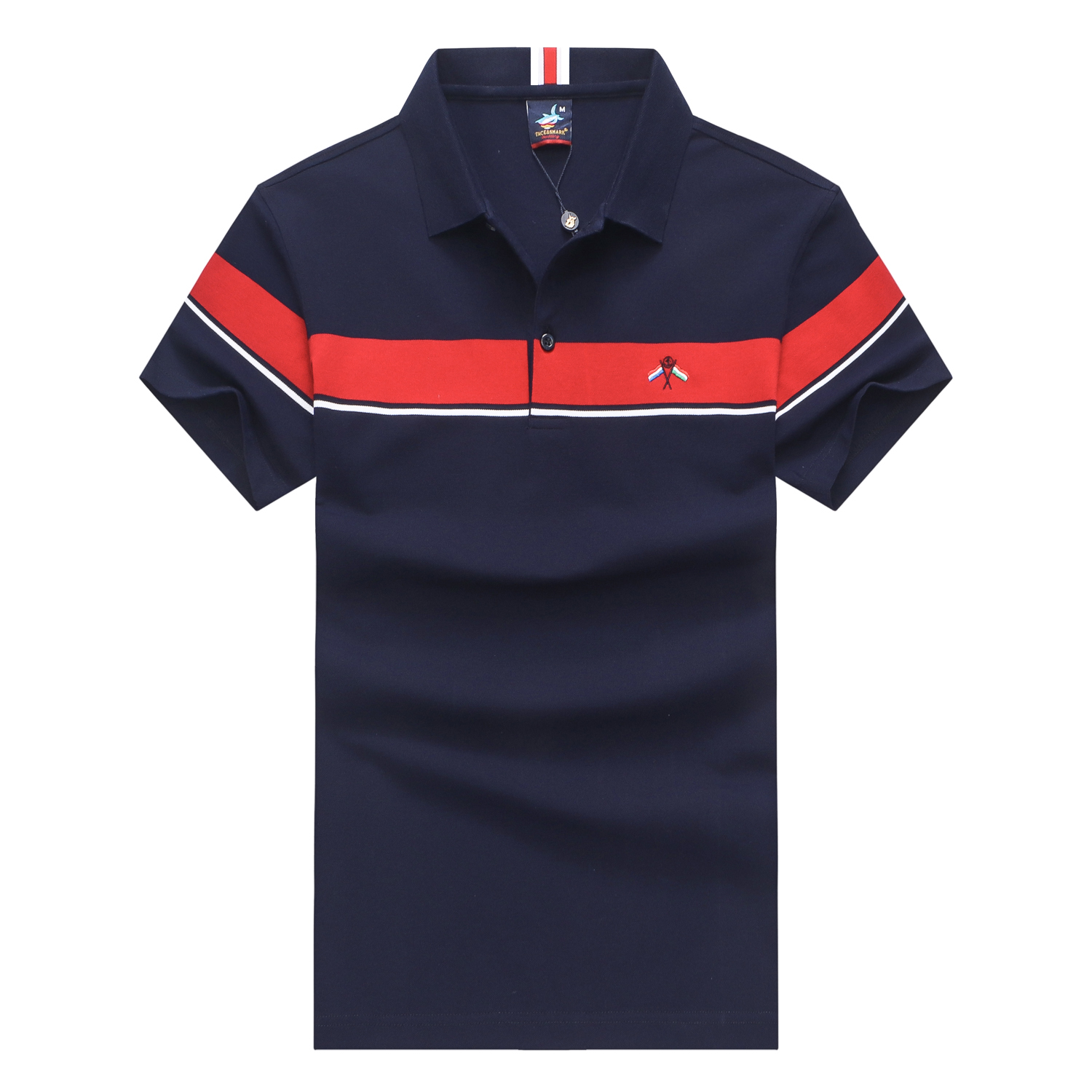 2019 Summer short sleeve   polo   shirt men casual fashion striped splice royal Tace & Shark   polo   men yachting lapel camisa   polo