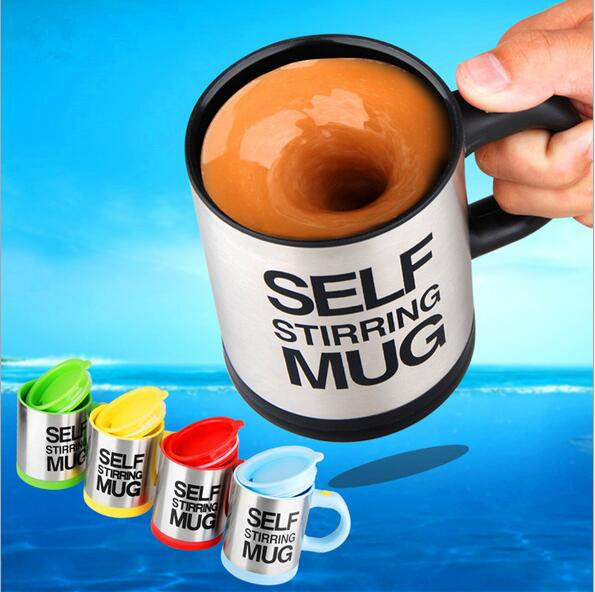 5 Color Automatic Coffee Mixing Cup 350ml Stainless Steel Self Stirring Electric Coffee Mug Thermocup Thermomug