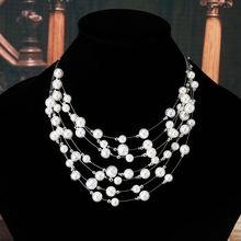 Chunky Multi Strand Pearl Necklace