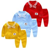 Baby Girls Clothing Set Spring Autumn Thin Navy Style Sweater Suit Newborn Infant Boy Buttons Sweaters 6 18Months