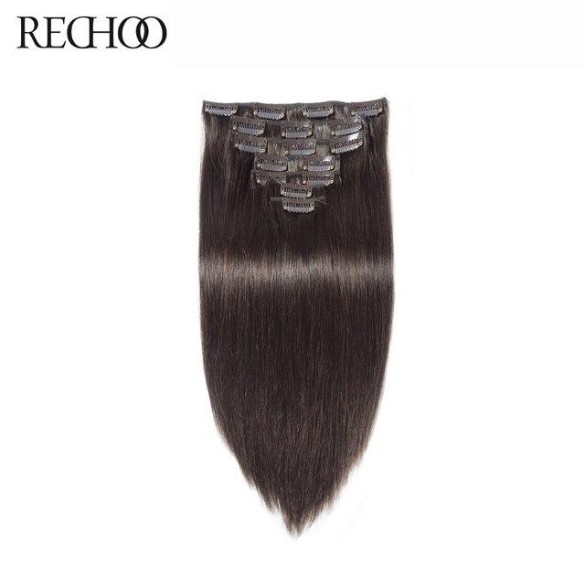 Rechoo Machine Fait Remy Agrafe Droite Dans les Extensions de Cheveux 100G 120G 100% Clips de Cheveux Humains Dans #2 Brun Foncé Couleur 18 1