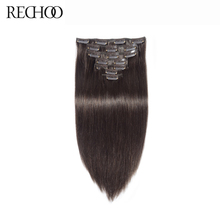 Rechoo Non-Remy Peruvian Straight Clip In Human Hair Extensions 140 Gram 100% Human Hair Clips In #2 Dark Brown Color