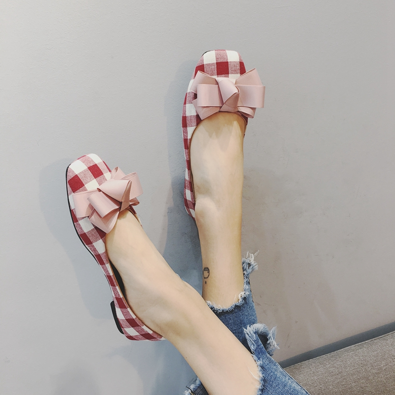 2017 women's summer fashion shoes bow shallow mouth square toe low-heeled shoes plaid flat single