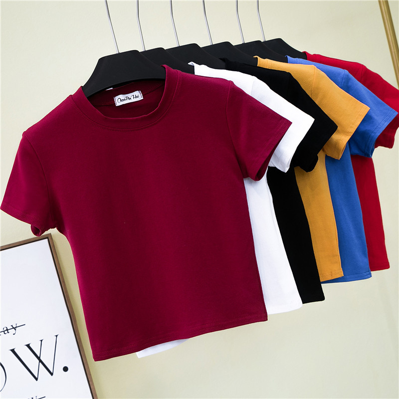 Crop koszulka top kobieta trwała bawełna O-Neck z krótkim rękawem t-shirty dla kobiet wysoka talia szczupła krótka, sportowa koszulka Blanc Femme 3