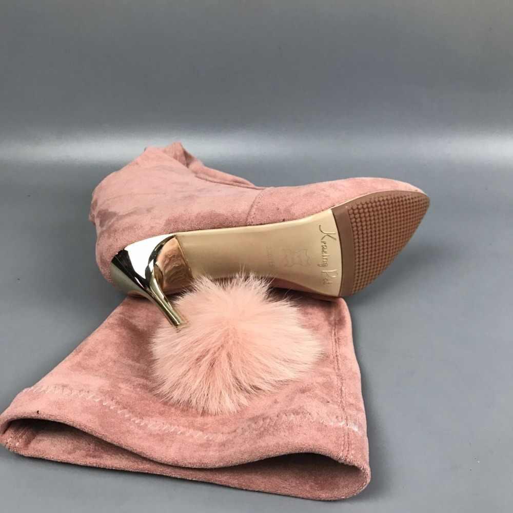 New Arrivel Flannel Chồn Tóc Thương Hiệu Giày Mùa Đông Giữ Ấm Đùi cao Khởi Động Gót Mỏng Chỉ Ngón Chân Phụ Nữ Over-the Khởi Động Đầu Gối L66