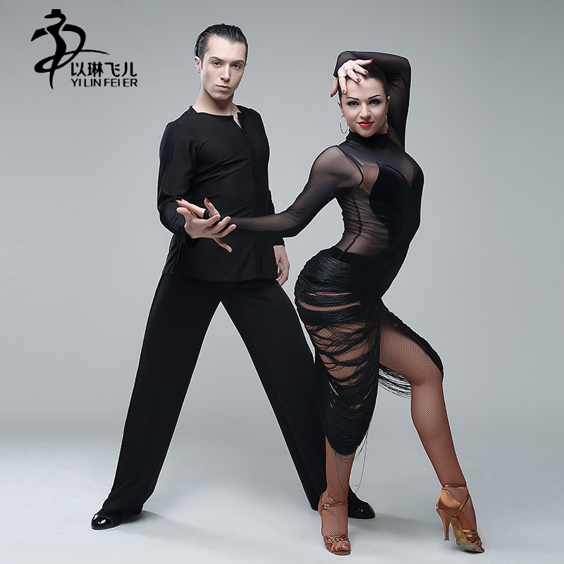 Women velvet Latin dance dress tassel mesh yarn perspective latin dancewear fringe Rumba ballroom sexy tango dresses for dance