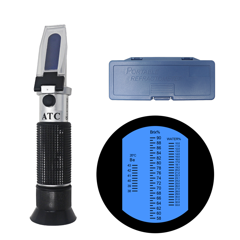58-90%/12-27%/38-43Be' Tri-Scale Honey Refractometer Brix/Moisture/Baume Tester Meter ATC, Sugar Water Content Level