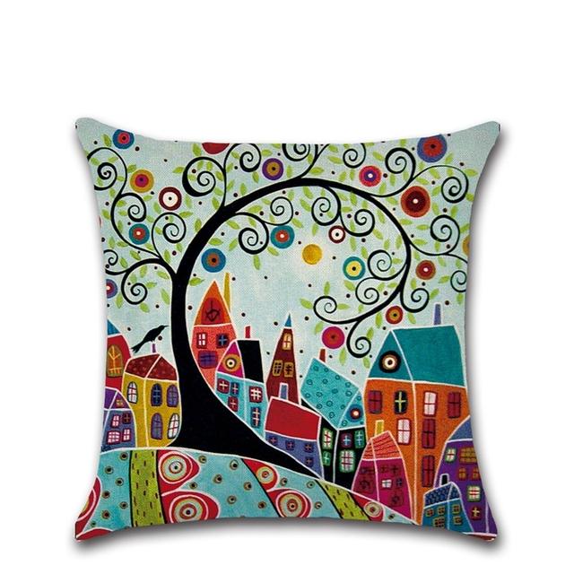 Cartoon City Printed Linen Cushion Cover