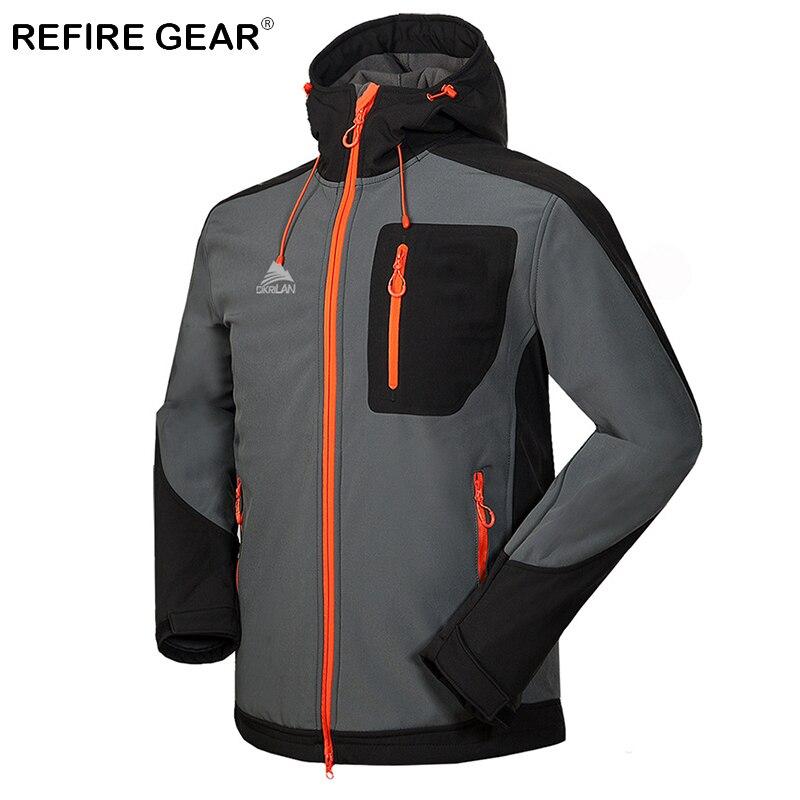 ReFire Gear Autumn Winter Hooded Windproof Camping Jackets Men Waterproof Thermal Windbreaker Jacket Female Thick Fleece Jackets