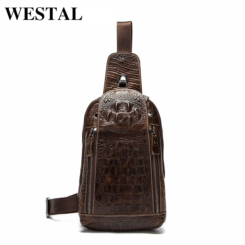 WESTAL Äkta Läder Män Väskor Hot Sale Män Crossbody Handväska Alligator Mönster Messenger Bag Man Fashion Shoulder Pack 1311