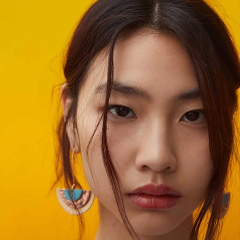Ztech Mới Dang Bông Tai Nữ Hình Học Hồng Nhựa Hoa ZA Lớn Dài Bông Tai Giọt Tuyên Bố Thời Trang Boho Trang Sức