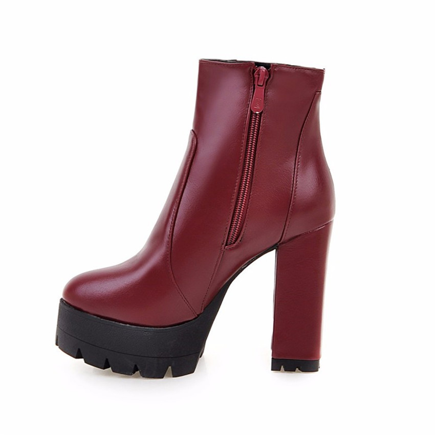 Spring Autumn Winter Platform High Heel Ankle Boots Women Short Boots Ladies Shoes botas botte femme Plus Size 34-40.41.42.43