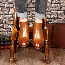Spring Autumn Mens Chelsea Boots Luxury Leather Men Classic Brand Bullock Carved Winter Ankle Black Dress Shoes