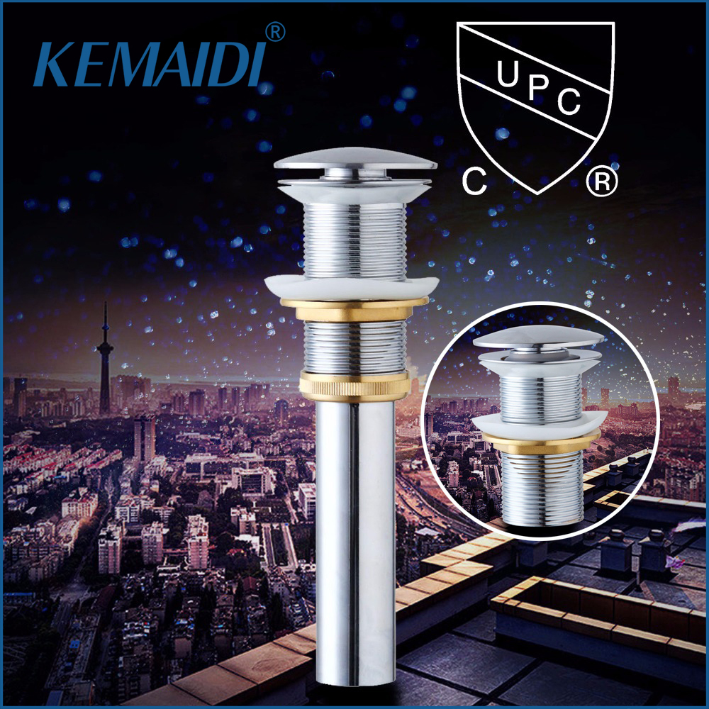 KEMAIDI CUPC Bathroom/Kitchen Sink Faucet Accessories Bathroom Vessel Brass Pop Up Drain without Overflow for Home Bars Sinks