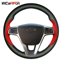 WCaRFun DIY Black Red Leather Hand stitched Car Steering Wheel Cover for Lada Vesta 2015 2016 2017