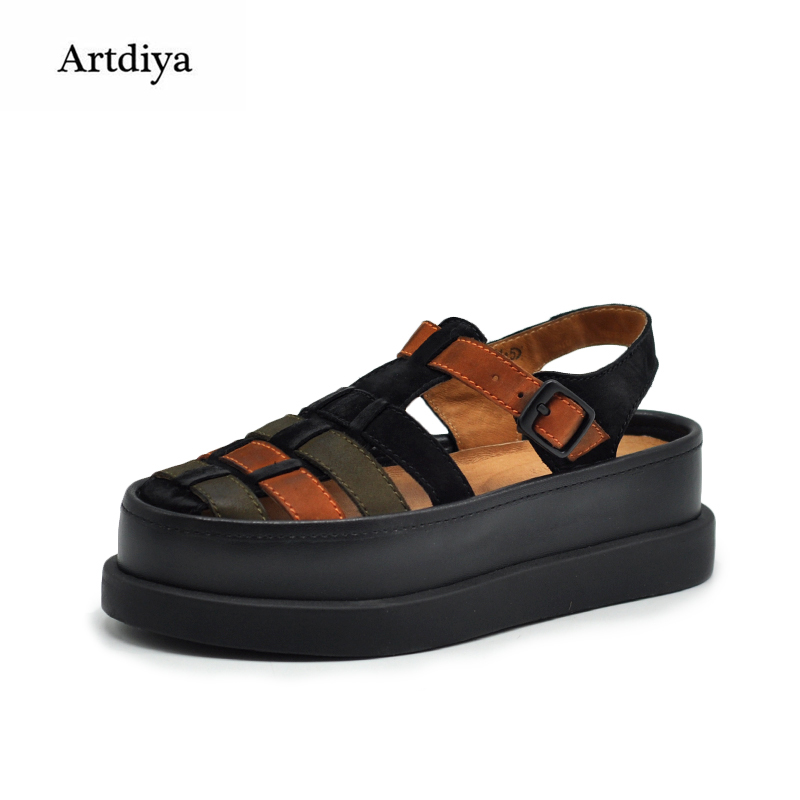 Artdiya Original Comfortable Genuine Leather Hollowed-out Sandals Female New Platform Thick Sole Roman Women Sandals 07725