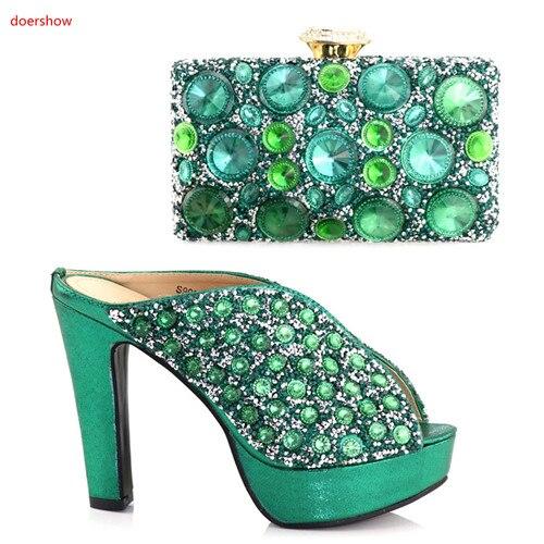 Correspondre Chaussures Mode argent Pour Or À Couleur Sur Et La Femme vert Nigeria Ensemble Doershow PartieHaa1 rouge 20 Verte Sac Italien De DWIbeYE9H2