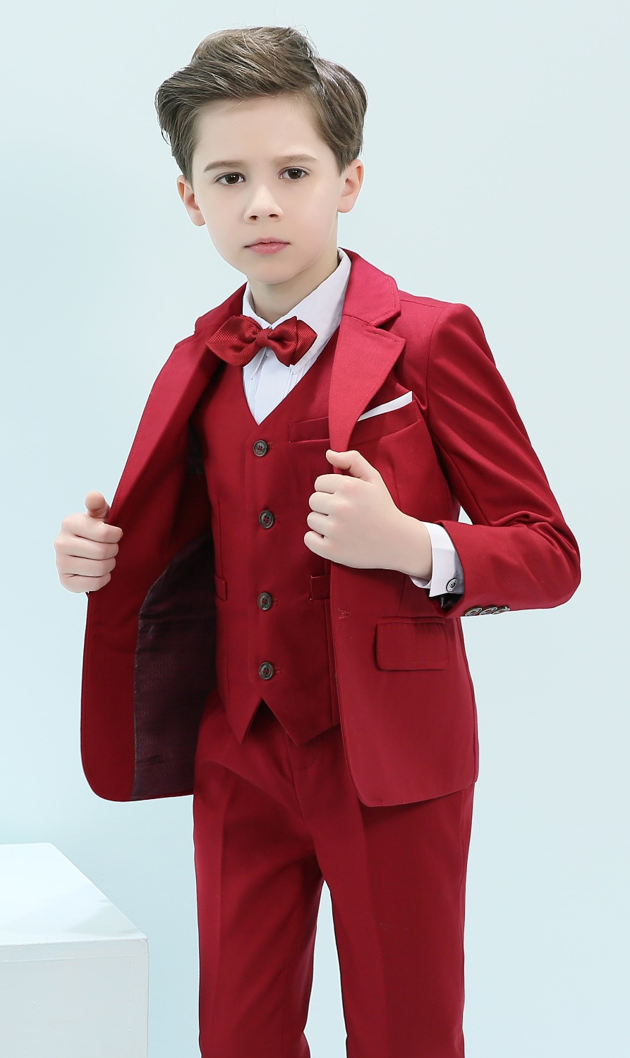 Boys Suits 5 Piece 3 Color Slim Fit Ring Bearer Suit For Boys Formal Classic Costume Weddings цена 2017