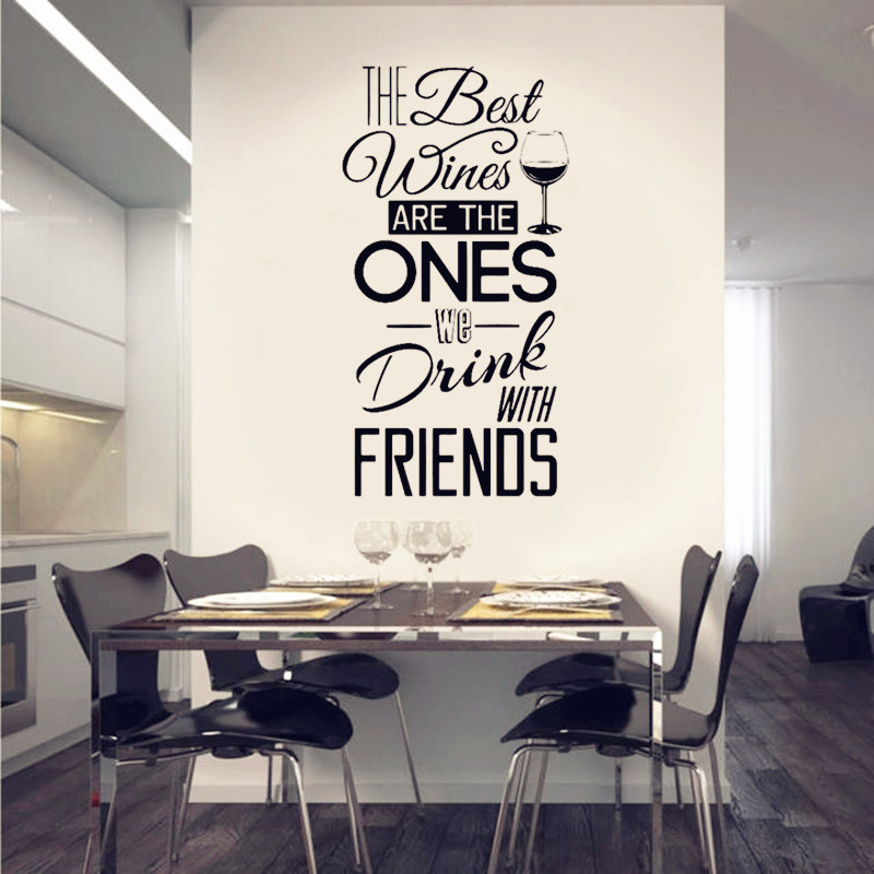 """Kitchen Quotes Wall Decal \"""" The Best Wines...With Friends \"""" Vinyl Wall <font><b>Sticker</b></font> Dining Room , Kitchen Wall <font><b>Art</b></font> <font><b>Mural</b></font> <font><b>Home</b></font> Decor"""