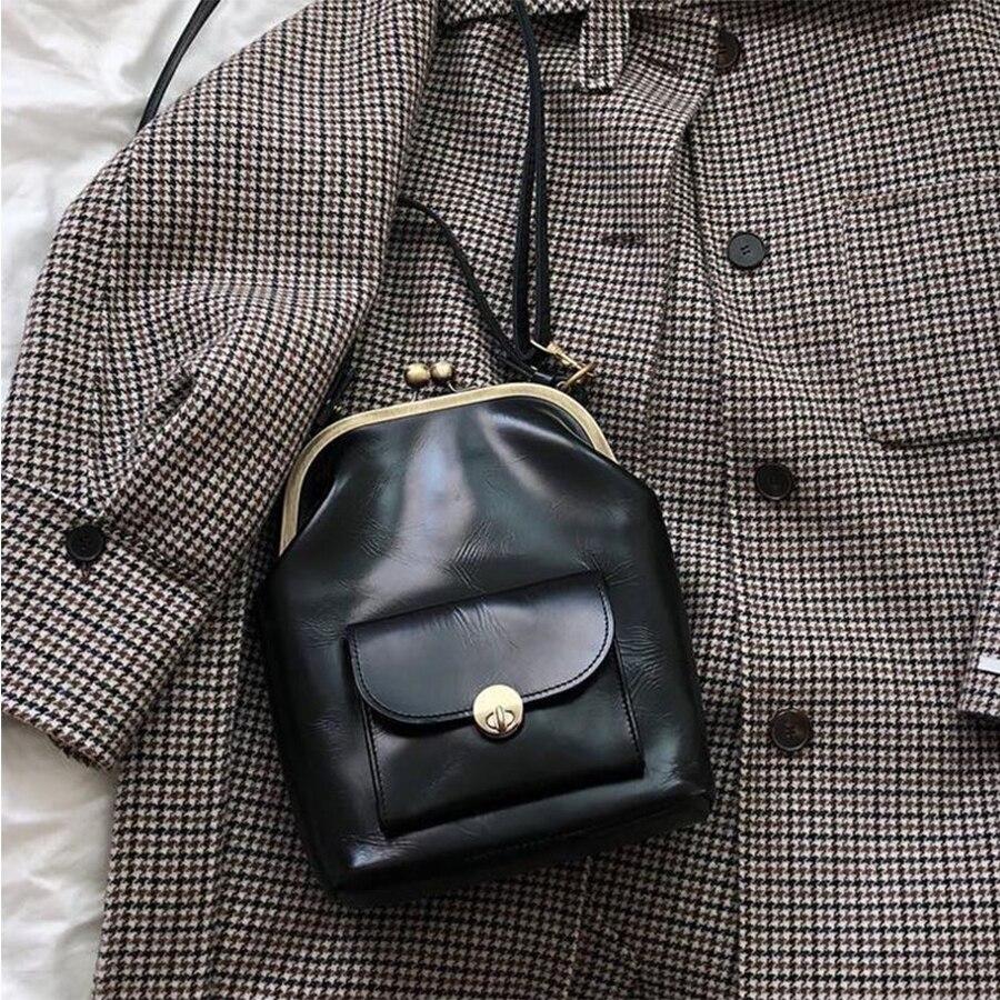 Vintage Clip Women's Bag PU Leather Shoulder Crossbody Designer Brand Women Crossbody Bag Leisure Travel Bag Purse 2019 Sac Chic