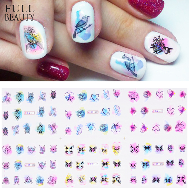 Full Beauty 1pcs Nail Sticker Dreamcatcher Owl Water Colorful Flower ...