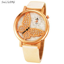 SmileOMG Fashion Casual Women Fashion Butterfly Analog Quartz Watch Leather Band Rhinestone Wrist Watch Christmas Gift,Sep 13