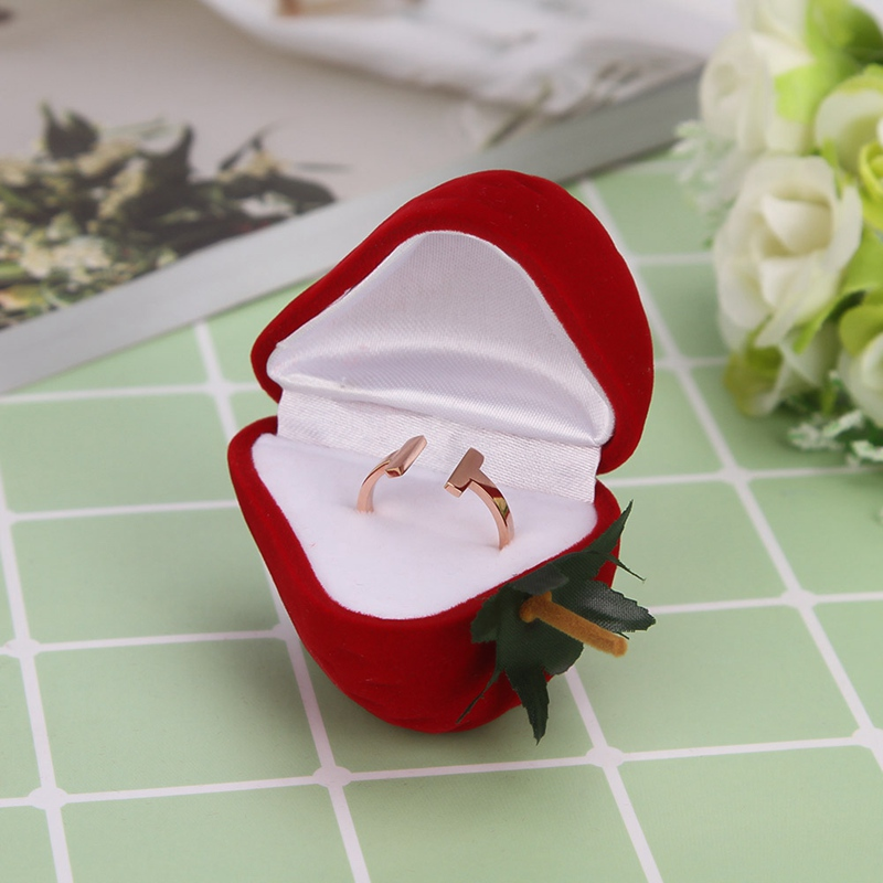 Jewelry Box Cute Strawberry Flocking Ring Jewelry Case Earring Ear Stud Case Gift Container Display Box Jewelry Packaging