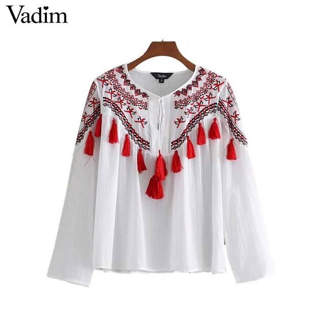 Vadim mujeres dulce floral bordado cosecha Top tassel tie camisa o cuello manga larga blusa irregular tops blusas LT2900