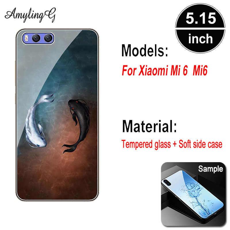 """Модный чехол из закаленного стекла для Xiaomi mi 6 mi 6 6E MCE16 5,15 """", Чехол с рисунком розового волка, черный чехол для телефона, Funda Para"""