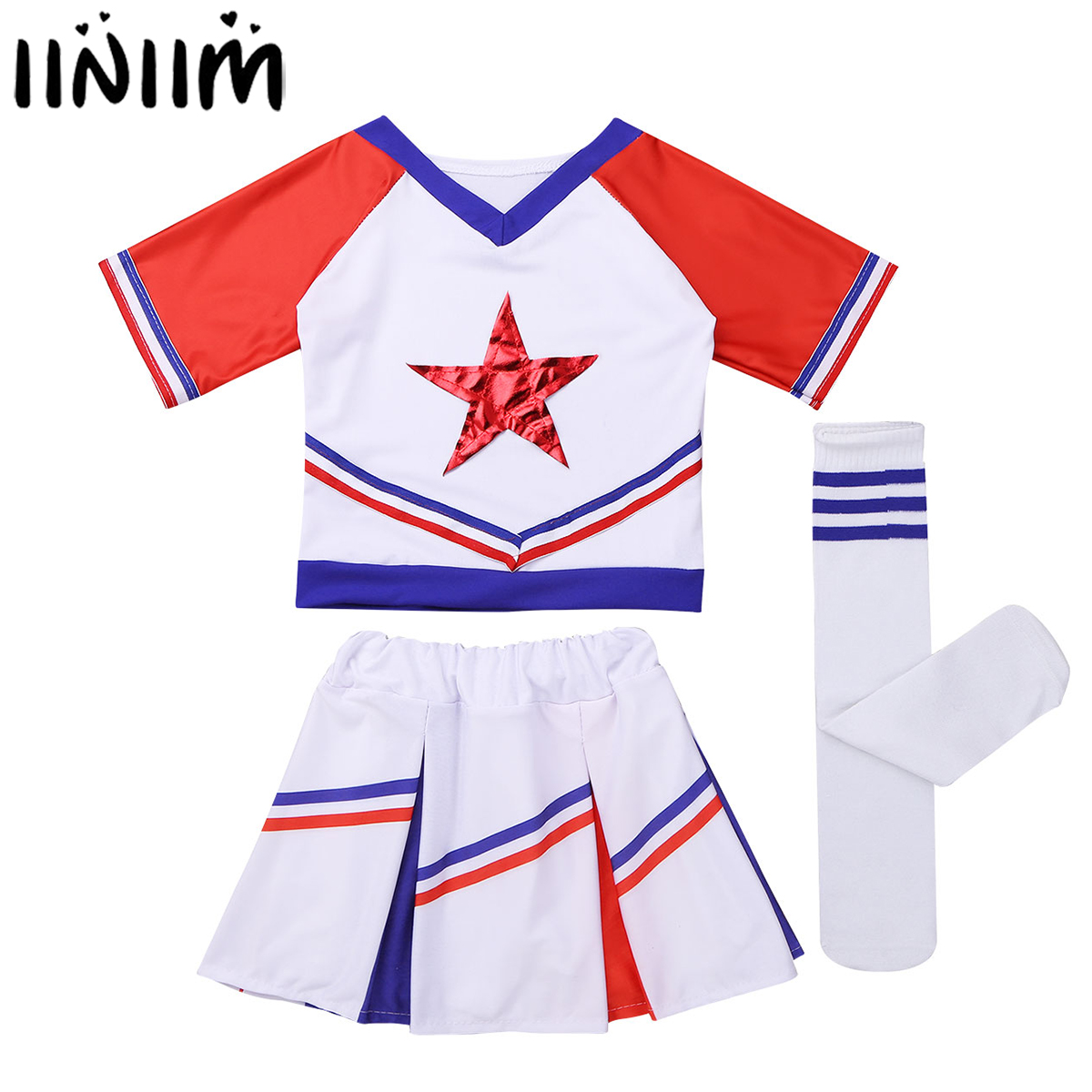 iiniim Kids Girls Cheerleader Costume Stars Applique Tops T-shirt with Skirt and Socks Modern Dancewear Set for Halloween Party