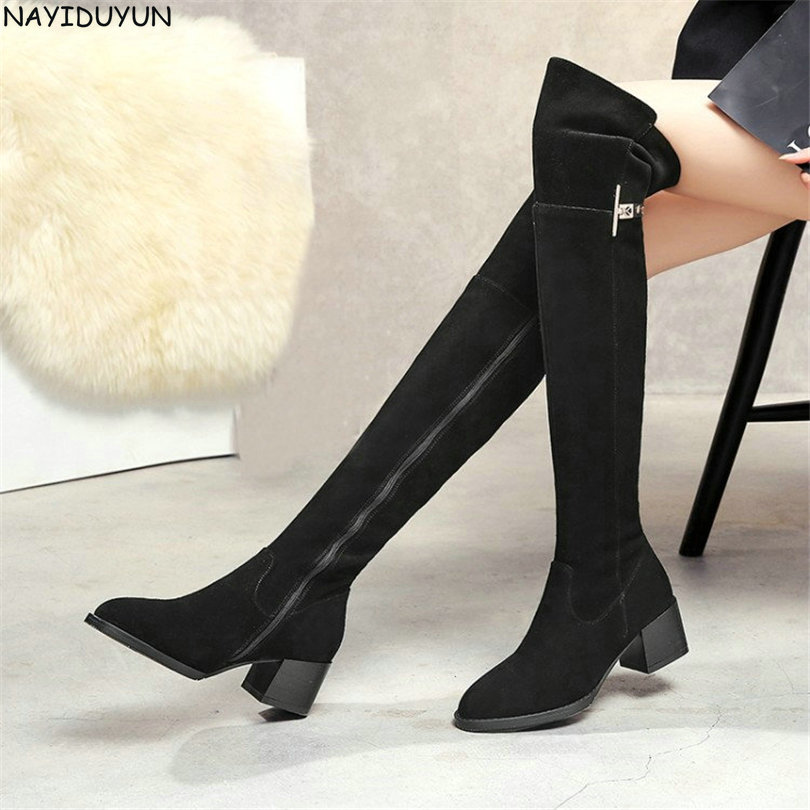 NAYIDUYUN      Fashion Women Black Genuine Leather Over Knee Boots Round Toe Thigh High Boots Med Heels Party Pumps Winter Shoes nayiduyun new fashion thigh high boots women genuine leather round toe knee high boots high heel party pumps casual shoes