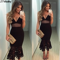ZTVitality 2017 Siyah Dantel Hollow Out Kolsuz V Yaka Backless Vestido De Festa Moda Kadın Elbise Seksi İnce Parti Elbise