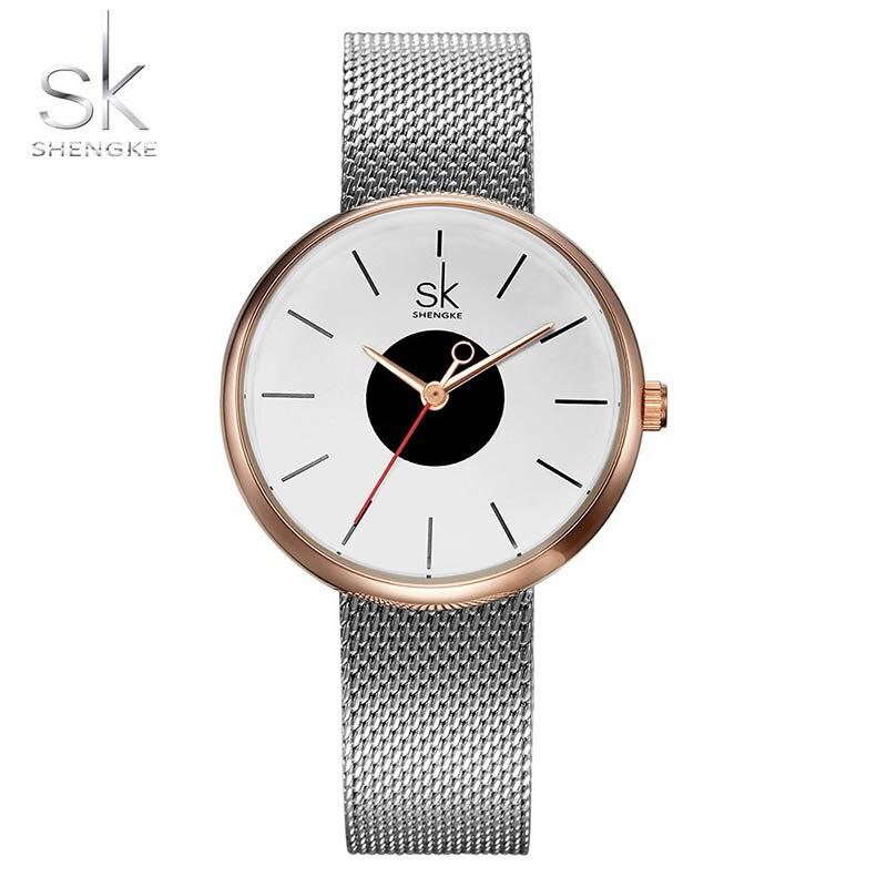SK 2017 New Women's Bracelet Watches Clock Luxury Brand Quartz Wristwatches Fashion Stainless Steel Watchband Strap Watch Hours 1