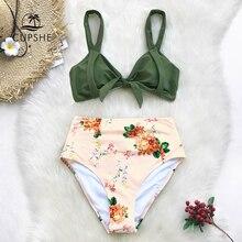 CUPSHE สีเขียวและดอกไม้พิมพ์เอวสูงชุดบิกินี่ผู้หญิงสามเหลี่ยม 2 ชิ้นชุดว่ายน้ำ 2020 สาวน่ารักชายหาดชุดว่ายน้ำชุด