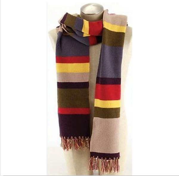 Doctor Who 4th Dr. Tom Baker Cosplay Warm Soft 12 Feet Super Long Knitting Scarf ...