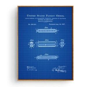 Hohner Губная гармошка лакированная художественная шелковая ткань плакат печать домашний Декор стены живопись 60х90см