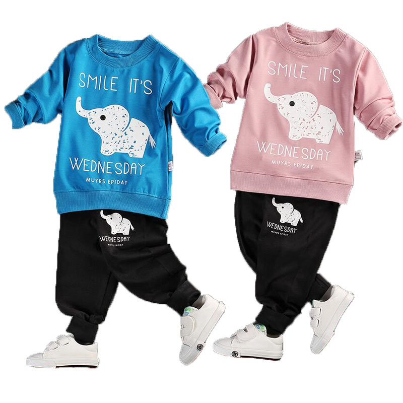 2017 New Baby Boy Girls Clothes Fashion Cartoon Children Sets Long Sleeve O-neck 2pieces T-shirt+pant Boys And Gilrs Kids Suit